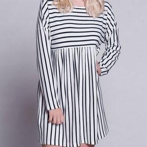 White & Navy Stripe Empire-Waist Dress